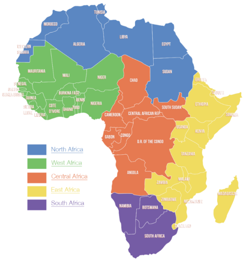 Image of the Africa divided into sub regions by the United Nations: North Africa, West Africa, Central Africa, East Africa, and Southern Africa.